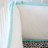 Caden Lane Girly Aqua Leopard Crib Bumper