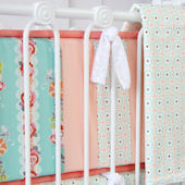 Caden Lane Lovely Coral Lace Crib Bumper