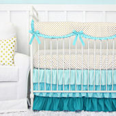 Caden Lane Aqua Gold Dot Ruffle Cribset