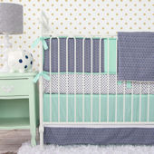 Caden Lane Chevron Mint Navy Cribset