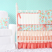 Caden Lane Coral Floral Crib Set