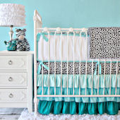 Caden Lane Girly Aqua Leopard Crib Set