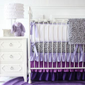 Caden Lane Girly Purple Leopard Crib Set