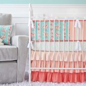 Caden Lane Lovely Coral Lace Crib Set