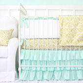 Caden Lane Mint And Gold Damask Cribset