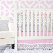 Caden Lane Mod Pink And Gray Cribset