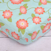 Caden Lane Coral Floral Crib Sheet