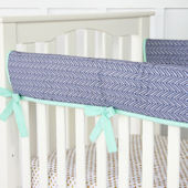 Caden Lane Mint Navy Chevron Crib Rail Protector