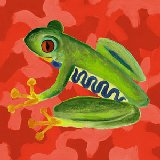 Red Camo Frog Wall Art