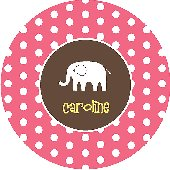 Pink Polka Dot Elephant Personalized Dinnerware