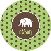 Green Polka Dot Elephant Personalized Dinnerware