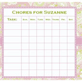 Frecklebox Pink Paisley Personalized Chore Chart