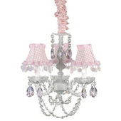 3 Arm White Chandelier with Pink Tear Drop Crystal