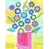 Blue Flowers in Pink Pot Wall Art