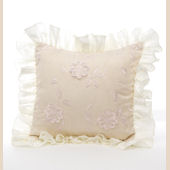 Ava Floral Overlay with Ruffle Throw Pillow