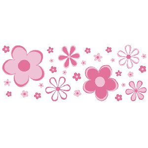 Pink Fun Flower Border Wall Transfer Stickers