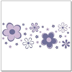 Purple Fun Flower Border Wall Transfer Stickers