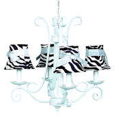4 Arm Harp Chandelier with Zebra Shade Baby Blue