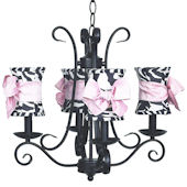 4 Arm Harp Chandelier with Zebra Shade Pink Bow