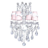 4 Arm Pewter Glass Chandelier Pink Shade White Bow