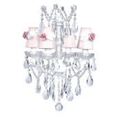 4 Arm Glass Center Chandelier with Rose Shade