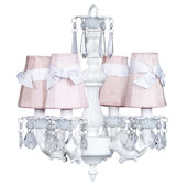 4 Arm Fountain Chandelier Pink Shades White Bows