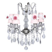 4 Arm Glass Center Pewter Chandelier  Rose Shade