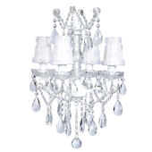 4 Arm Glass Center  Chandelier with White Shade
