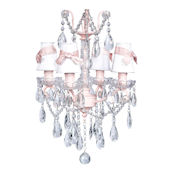 4 Arm Glass Center Chandelier White Shade Pink Bow