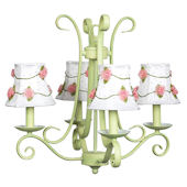 4 Arm Harp Green Chandelier with Flower Shade