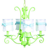 4 Arm Harp Green Chandelier with White Shade