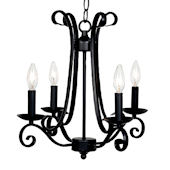 4 Arm Black Harp Chandelier