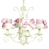 4 Arm Ivory Harp Chandelier with Pink Gingham Bow