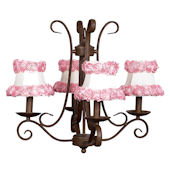 4 Arm Mocha Harp Chandelier with Flower Shade