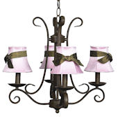 4 Arm Harp Chandelier with Pink Shade Mocha Bow