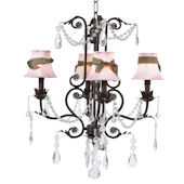 4 Arm Valentino Chandelier Pink Shade Mocha Bow