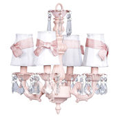 4 Arm  Fountain Chandelier White Shades Pink Bows
