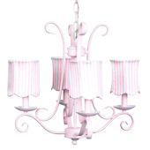 4 Arm Pink Harp Chandelier with Pink Stripe Shade