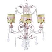 4 Arm Valentino Chandelier Green Shade Pink Bow