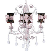4 Arm Valentino Chandelier Leopard Shade Pink Bow