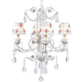 4 Arm White Valentino Chandelier with Flower Shade