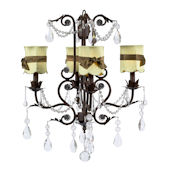 4 Arm Valentino Chandelier Green Shade Brown Bow