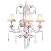 4 Arm Valentino Chandelier Pink and Green Flower