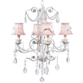4 Arm Valentino Chandelier  Pink Shade White Bow