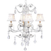 4 Arm White Valentino Chandelier with White Shade