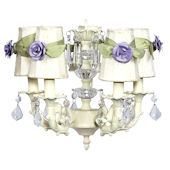 5 Arm Glass Ball Chanderlier with Lavender Roses