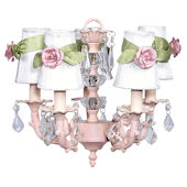 5 Arm Glass Ball Chanderlier with Pink Roses