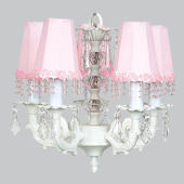 5 Arm Glass Ball Chandelier with Pink Pearl Shade