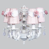 5 Arm Glass Ball Chandelier with Pink Rose Shade