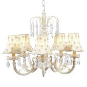 5 Arm Waterfall Chandelier with Ivory Pearl Shades
